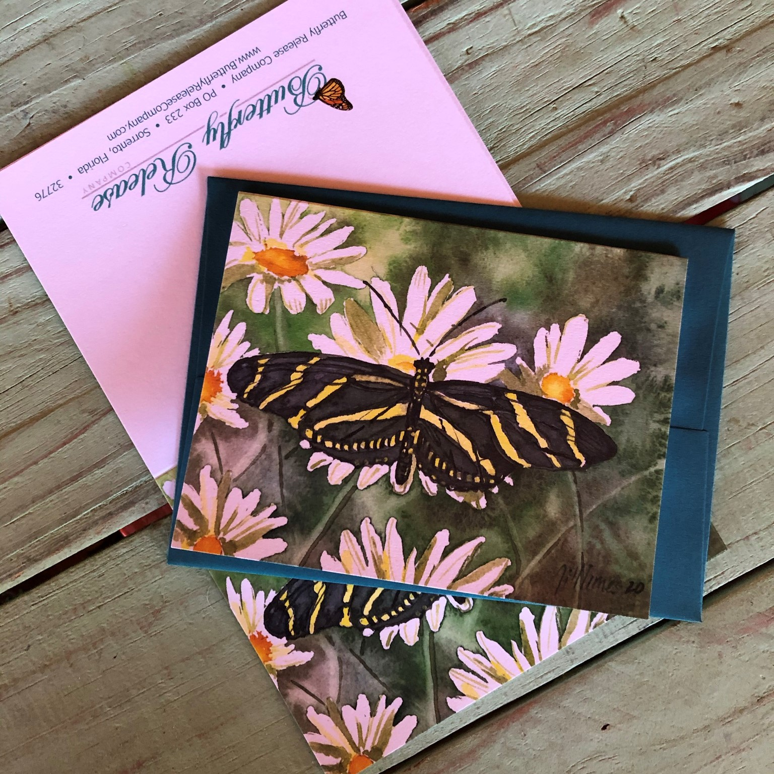 Zebra Longwing on daisy  - Original Watercolor prints